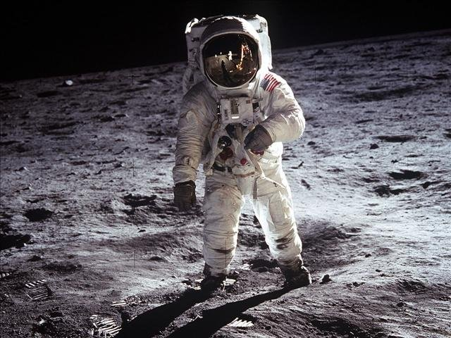 Astronaut Buzz Aldrin, walks on the surface of the Moon in a photograph taken by Mission commander Astronaut Neil A. Armstrong, July 20 1969, Photo Credit: Courtesy: NASA