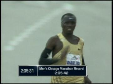Sammy Wanjiru of Kenya won the Chicago Marathon with the fastest time on American soil.