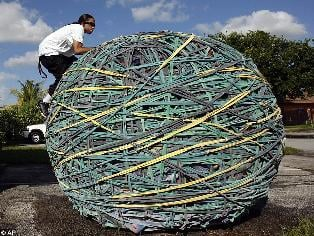 Joel Waul on his 9,000 lb. rubber band ball