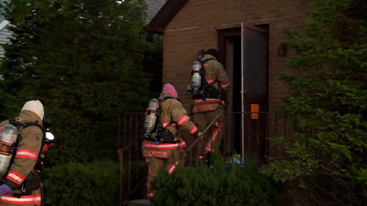 Firefighters wore haz-mat gear while going into home