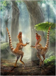 Artwork by Chuang Zhao and Lida Xing. Reconstruction of two Sinosauropteryx, sporting their orange and white striped tails.