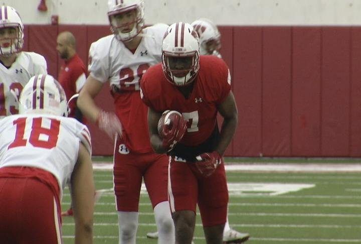 Badger player on the field during the spring game.