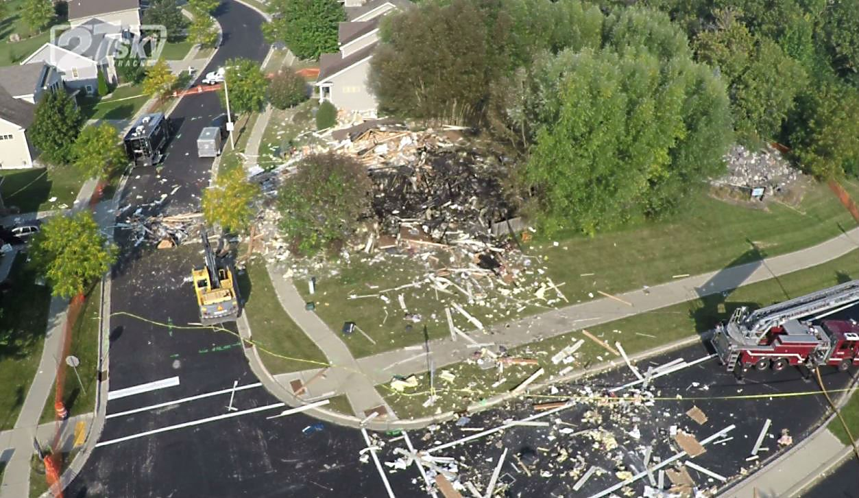 Drone video of the house explosion on Stratton Way. WKOW photo