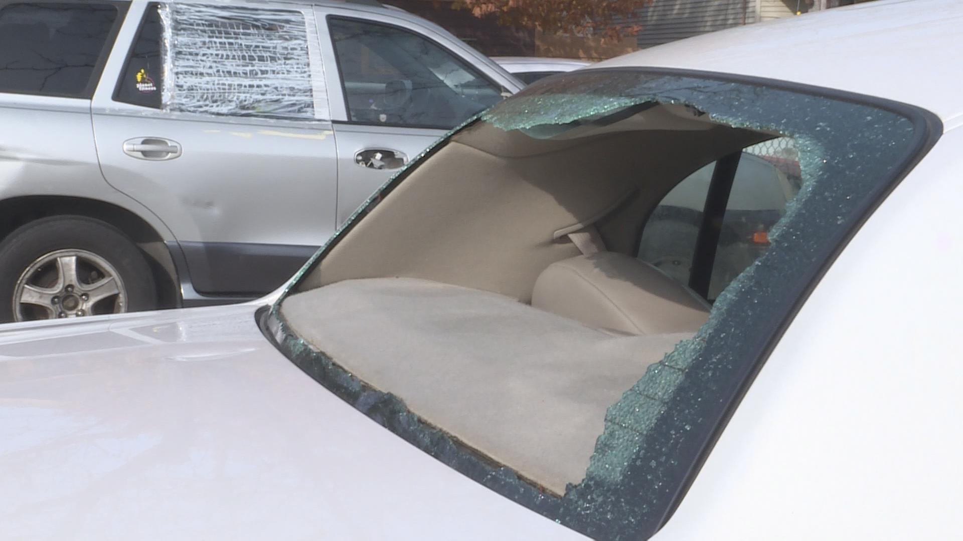 One of five vehicles vandalized overnight Sunday in the parking lot of The Salvation Army shelter on East Washington Ave.