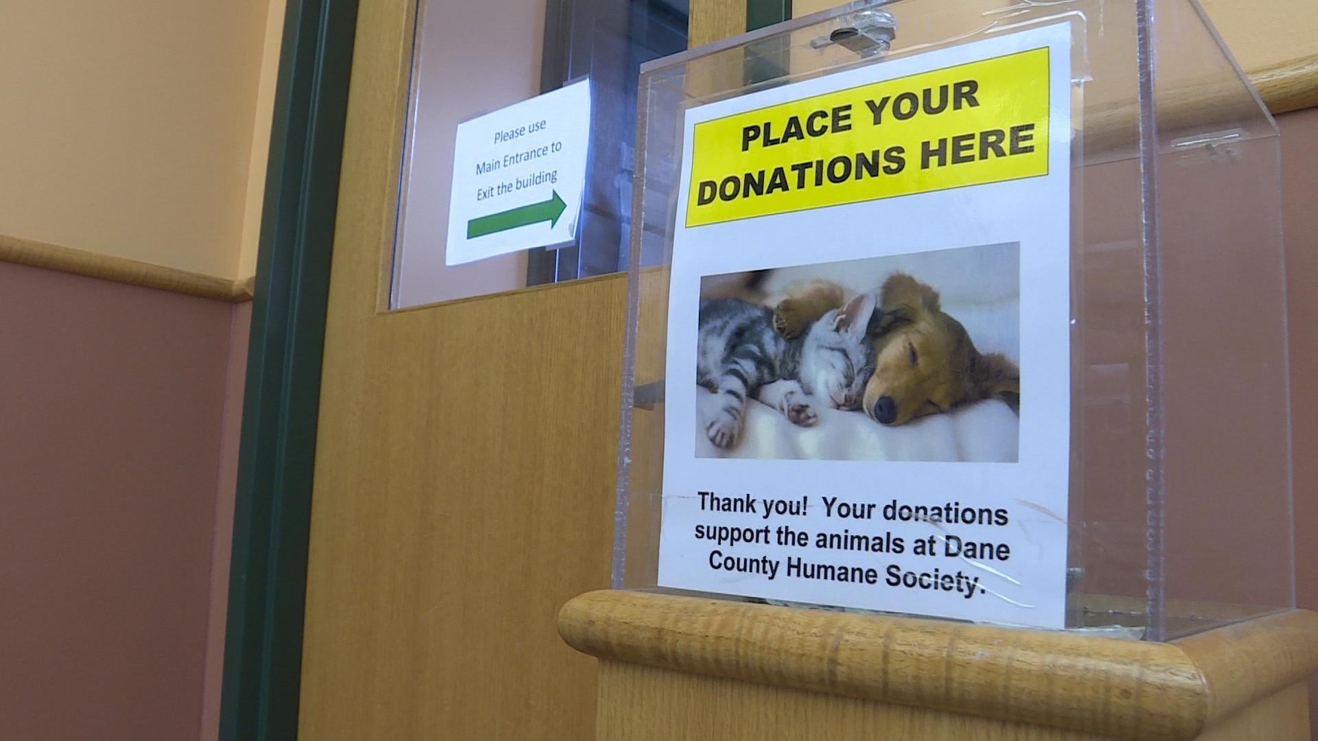 Donation box at the Dane County Humane Society