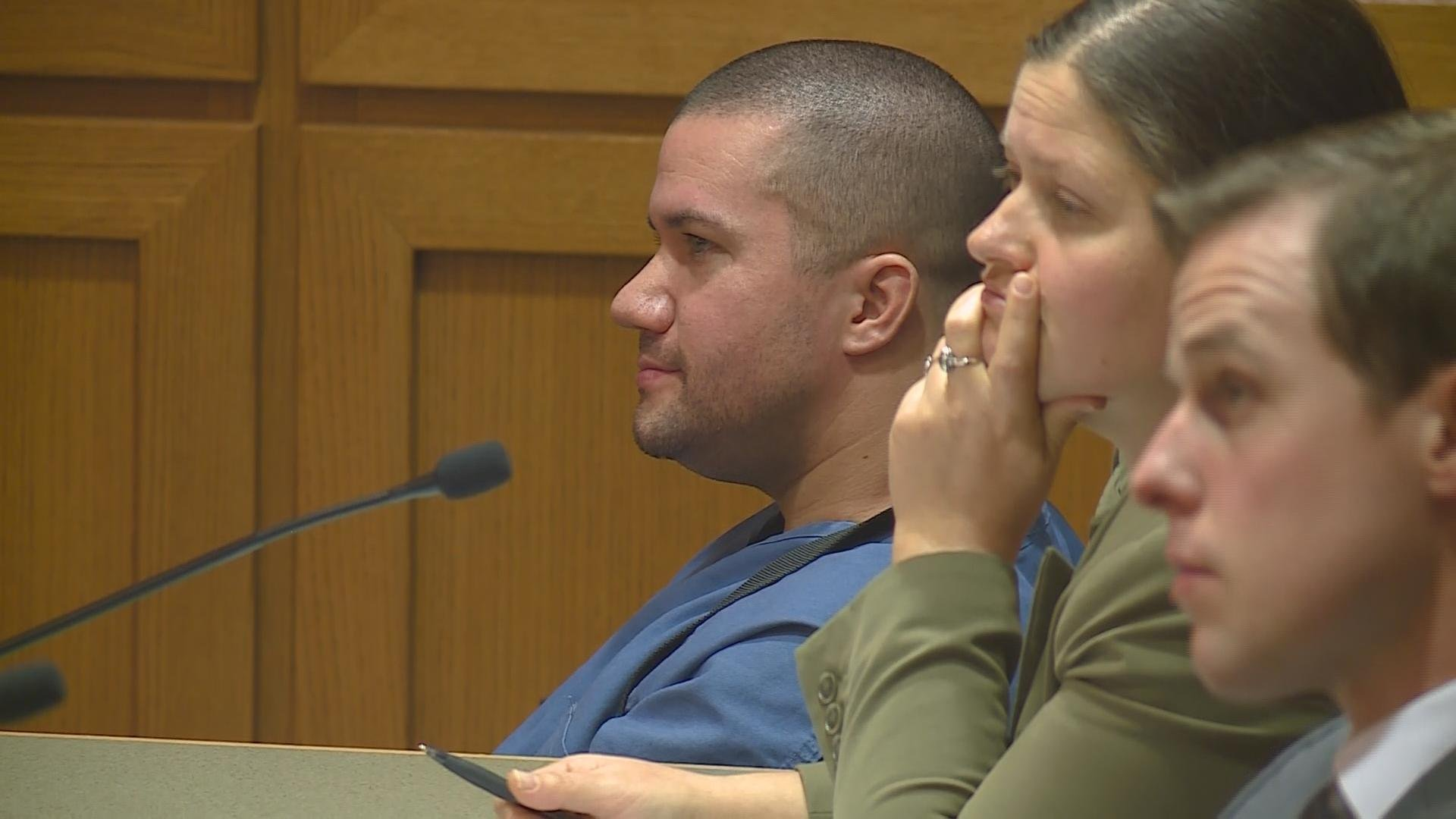 Curtis Langlois sitting in court Thursday before being sentenced to life in prison in the shooting death of Kendrith Young.