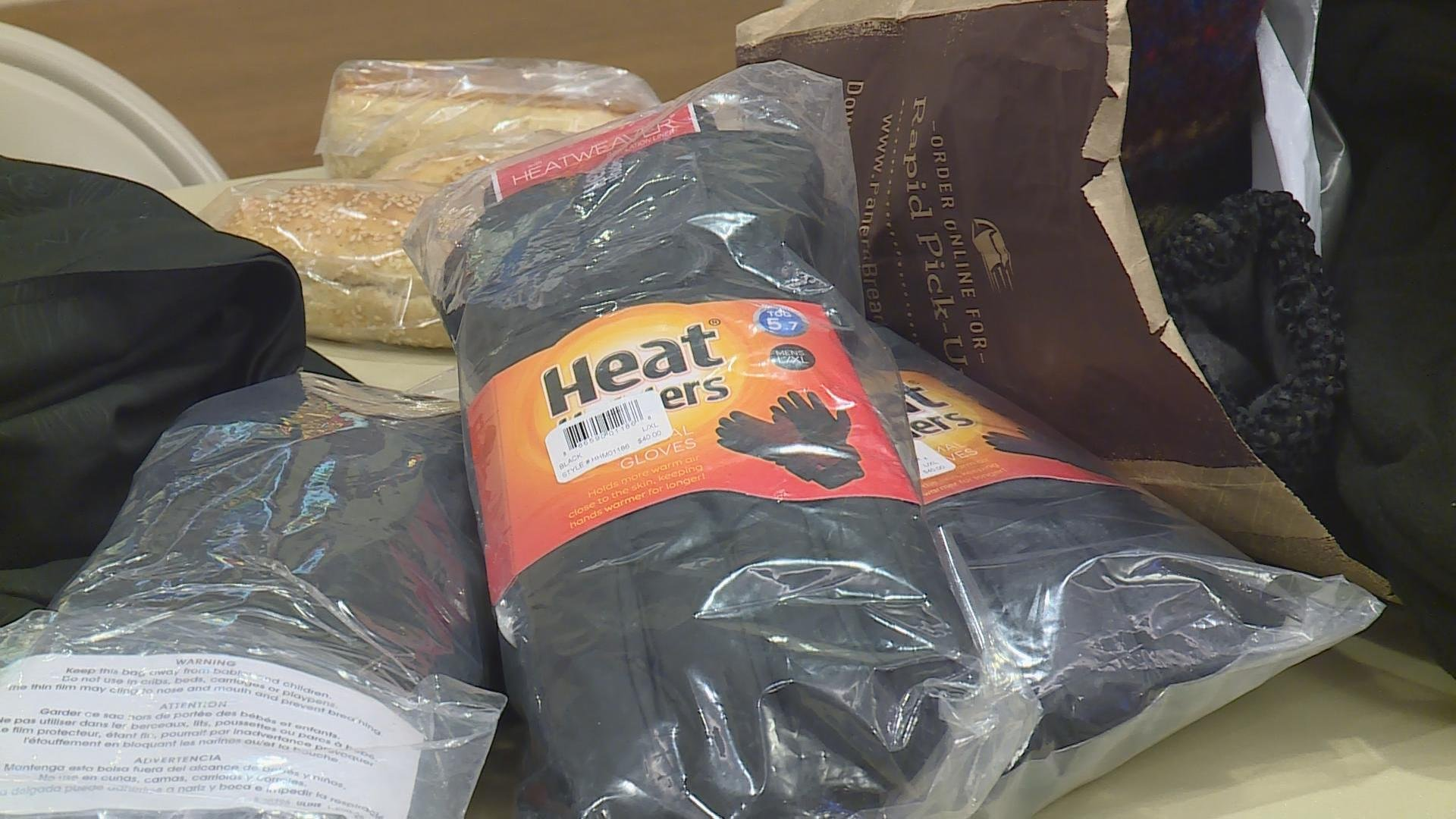 Gloves included in winter survival kit handed out to the homeless.