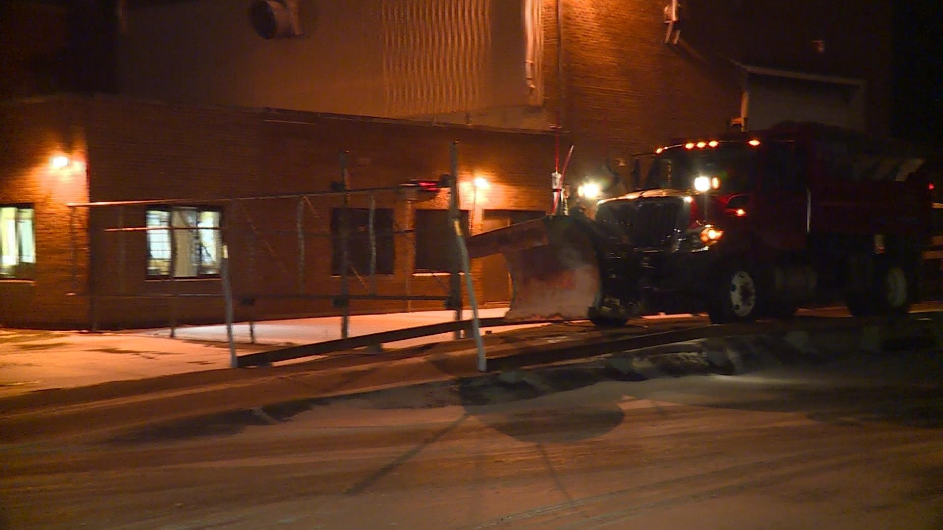 Truck leaving the yard at the Sauk County Highway office in Baraboo.