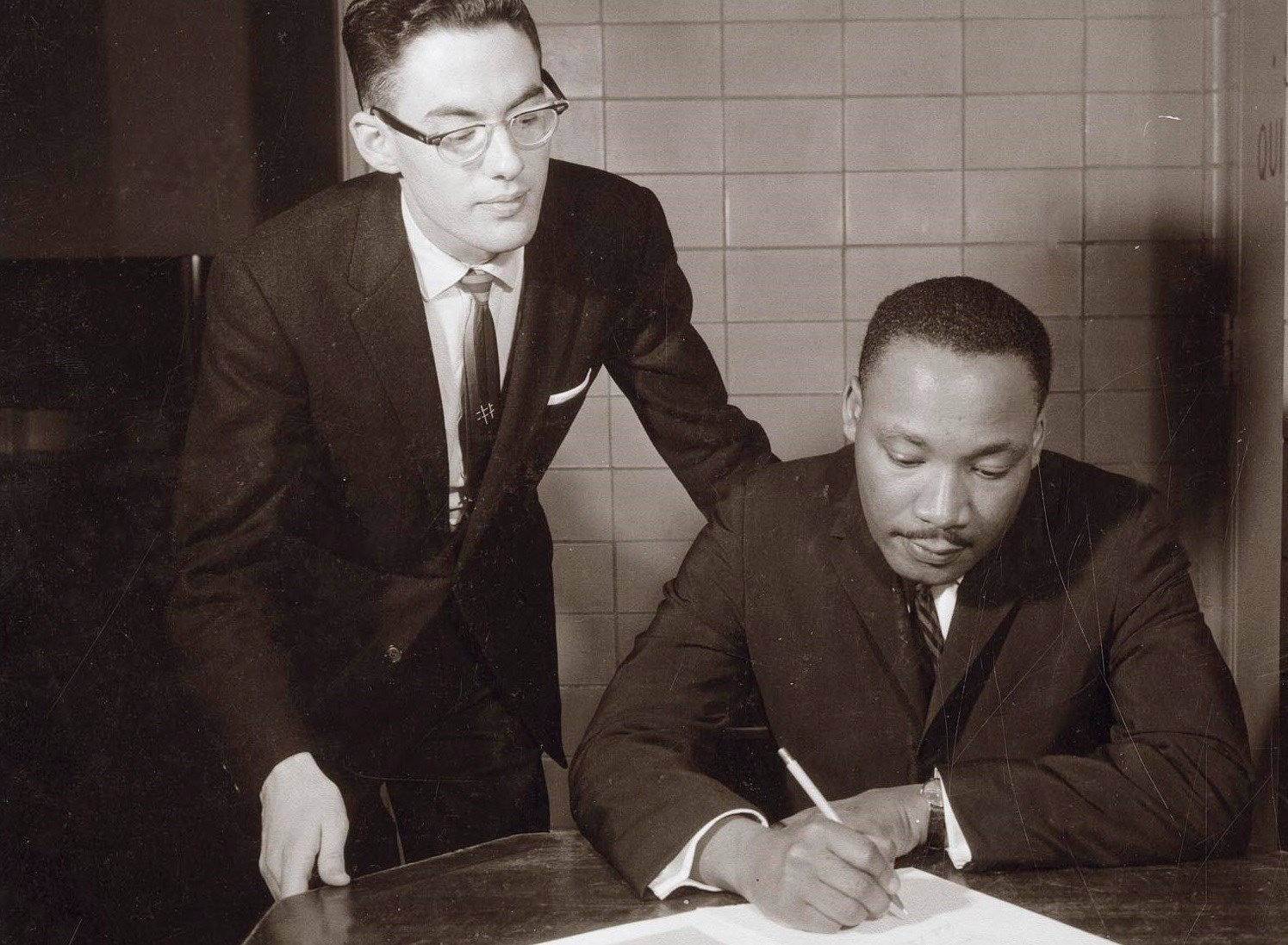 Wisconsin Union Directorate Forum Committee member Jim Ehrman with Martin Luther King, Jr. after King's lecture at the University of Wisconsin–Madison on March 30, 1962. Wisconsin Union photo