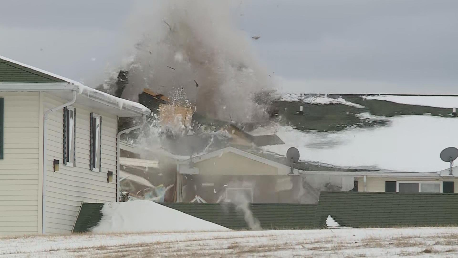 Photo of controlled detonation inside Beaver Dam apartment building