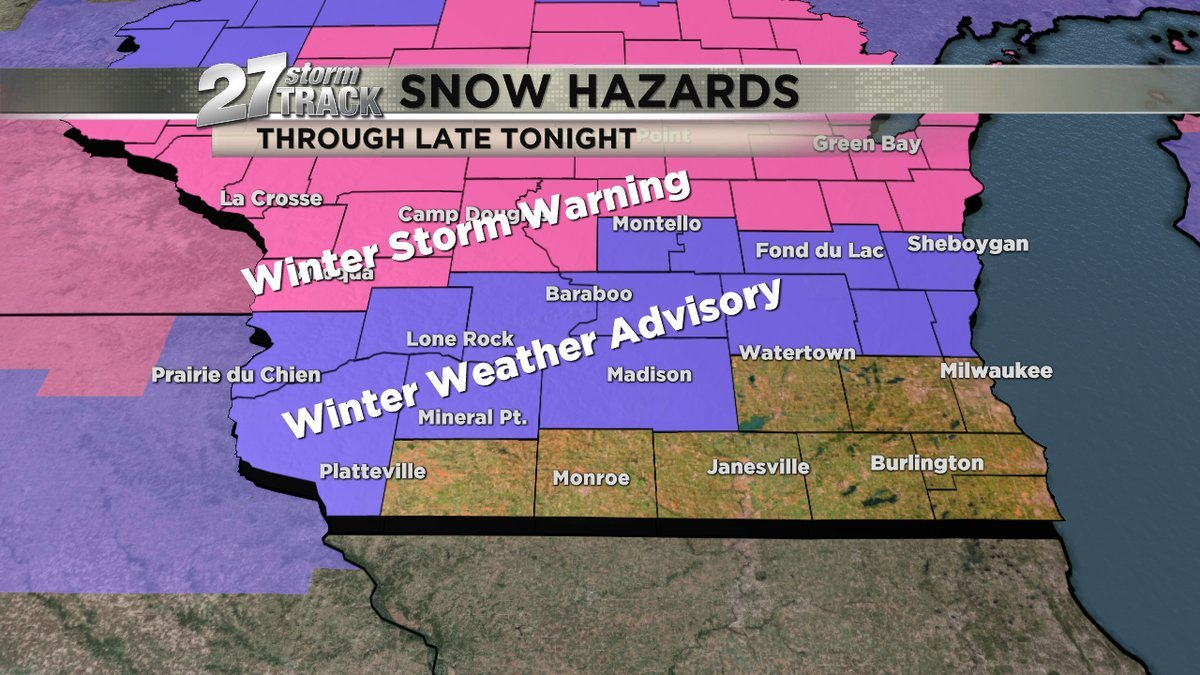 Areas to the north with Winter Weather Advisory