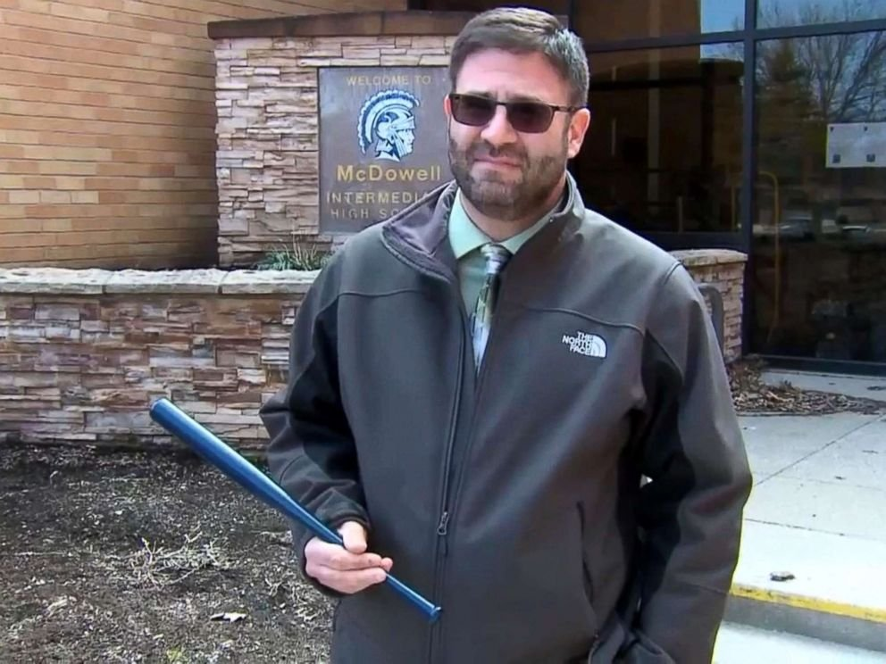 The Millcreek School District has placed small baseball bats in its classrooms. Photo courtesy ABC News