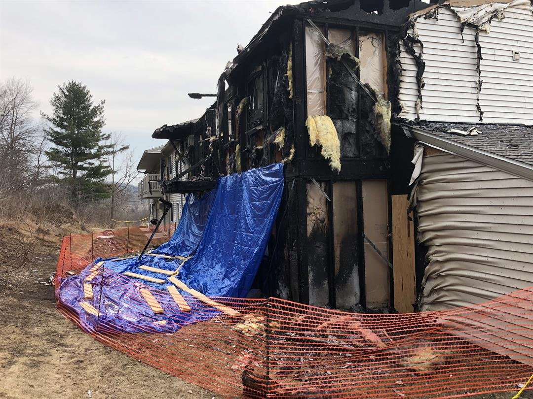 Back of Cross Plains apartment building damaged by a fire April 2nd.