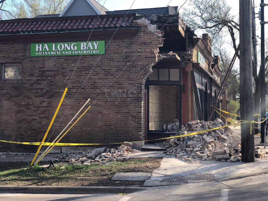 Outside the Ha Long Bay restaurant on Willy Street the day after a car smashed into the building.