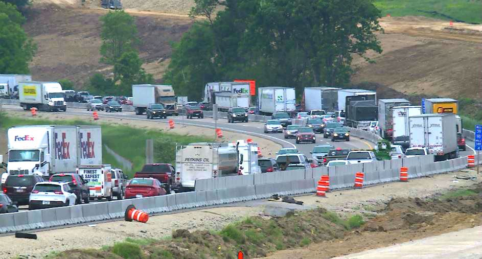 Traffic backs up on I39/90 near Stoughton following a crash Friday. Ryan Moore/WKOW photo