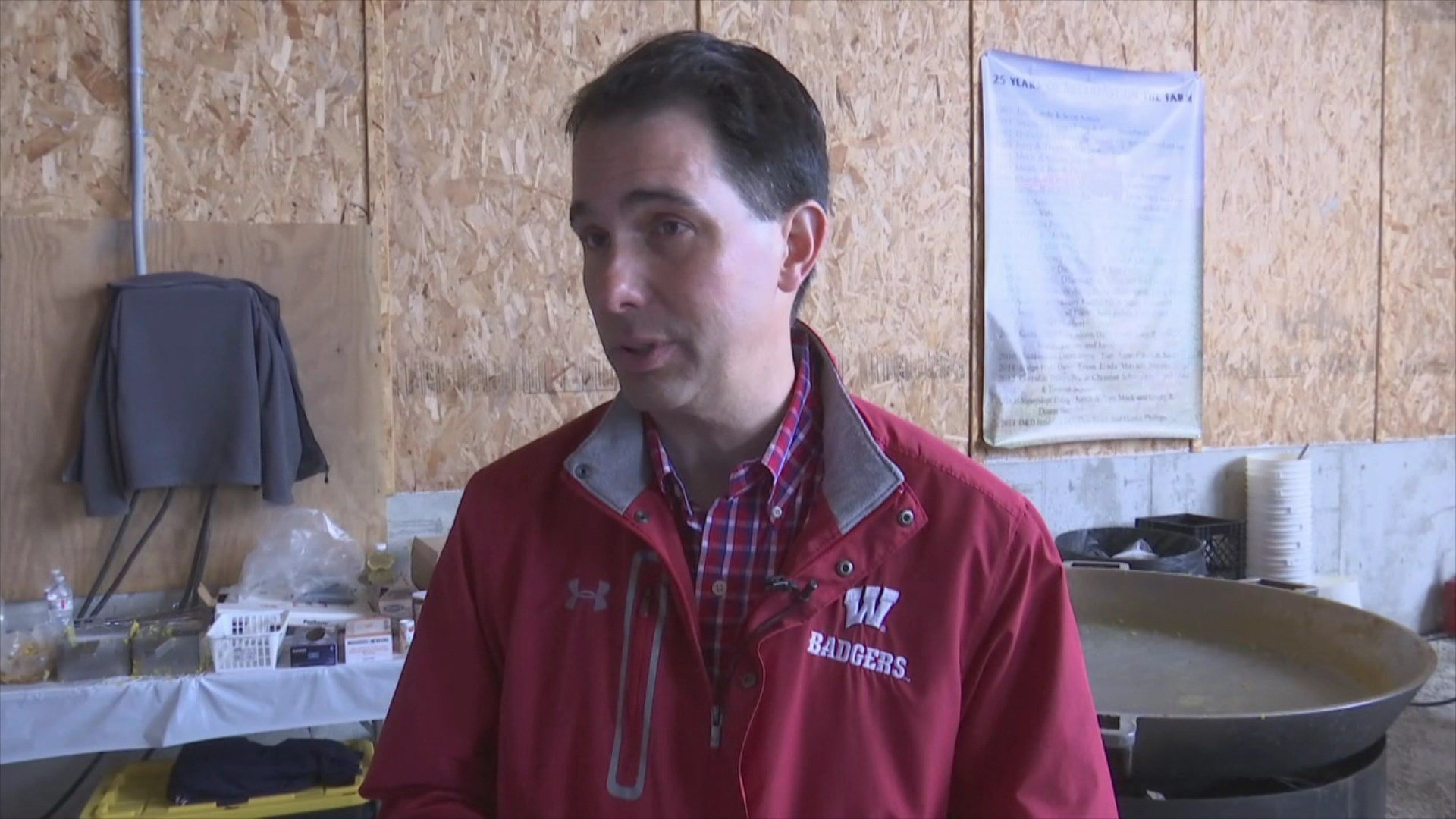 Gov. Scott Walker spoke about impact of tariffs on local farmers at event in Mishicot Sunday.