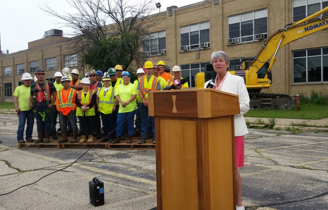 State Sen. Janice Ringhand makes remarks June 20, 2018 during the awarding of a grant to fund demolition at the former GM site. WKOW/photo