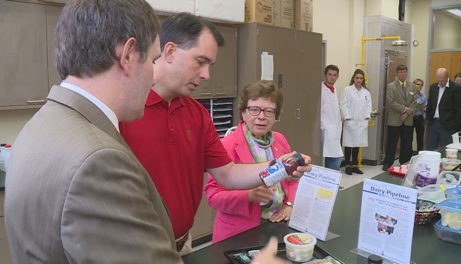 Gov. Walker during a Wisconsin Cheese Day event Monday in Madison. Re'Nesha Donson/WKOW photo.