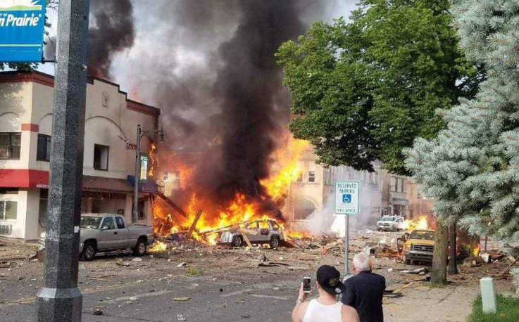 Explosion in downtown Sun Prairie July 10, 2018. Photo courtesy Adam Meyer.