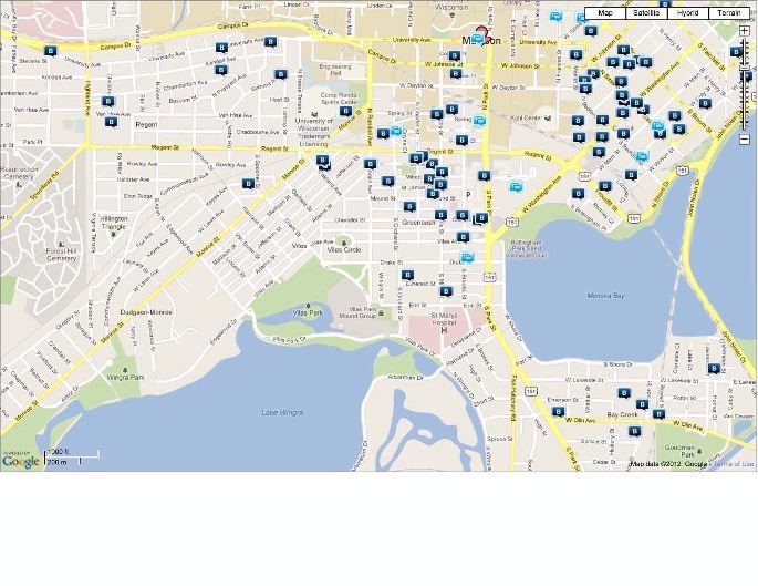 Map of burglaries from January to March of 2012