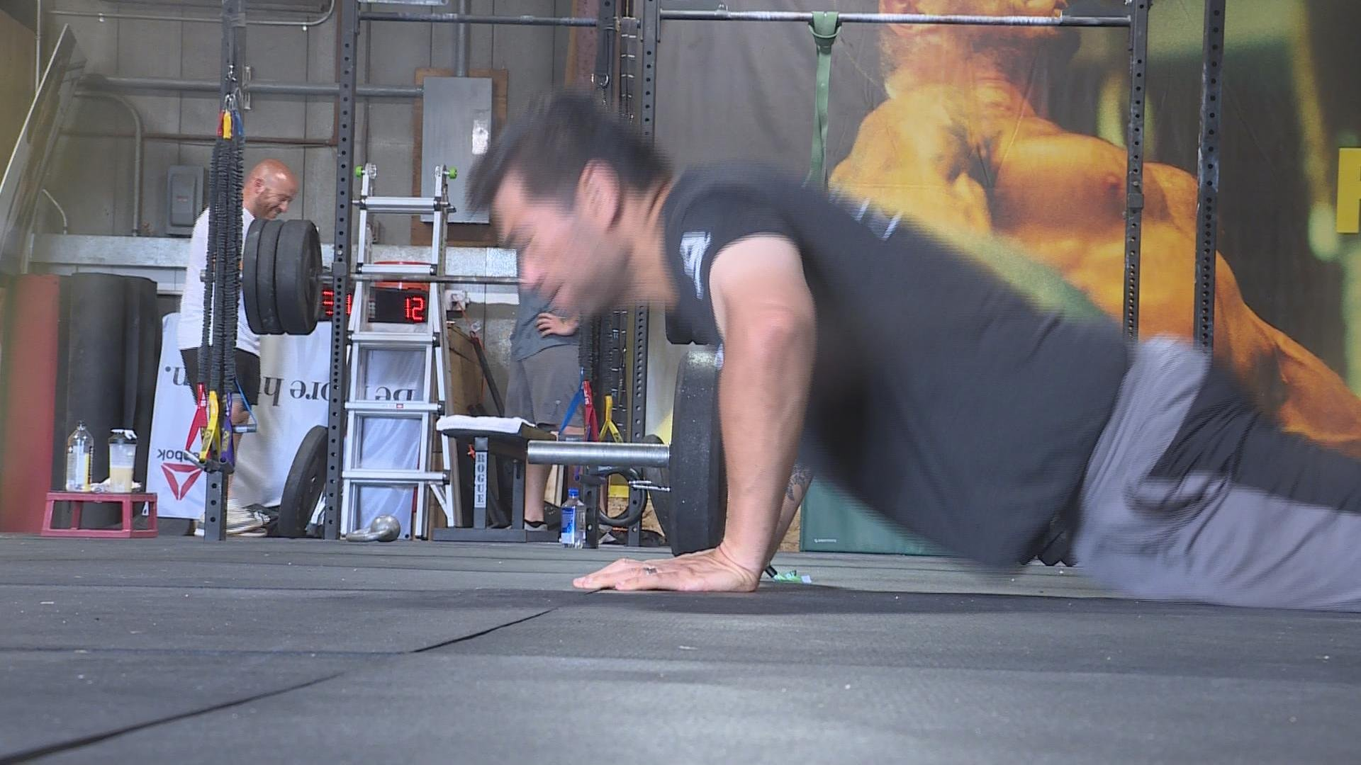 Al Sagapolutele working out at CrossFit Connex in Madison.