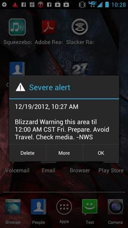 This is what the alert looks like on an Android phone