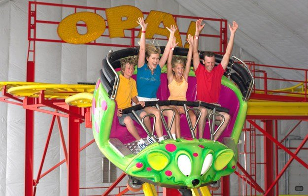 Promotional image of the OPA! roller coaster posted on Mt. Olympus website
