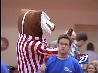 Bucky Badger greets young cancer patients at UW Hospital on Saturday.
