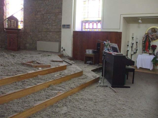The Holy Rosary Church after the collapse on July 22, 2008