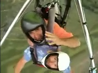 Joe LaBarbera and hang gliding enthusiast Mark Furst... about 1,000 feet or so above Whitewater.