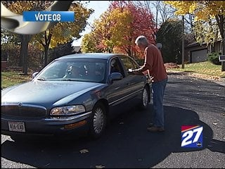 This volunteer for the John McCain campaign went door to door in Madison on Friday.