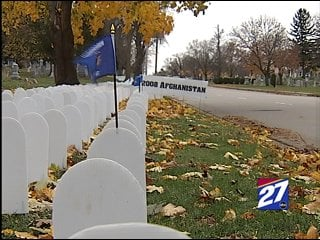 A display of 4,800 tombstones is currently on Speedway Road in Madison along Forest Hill Cemetery.