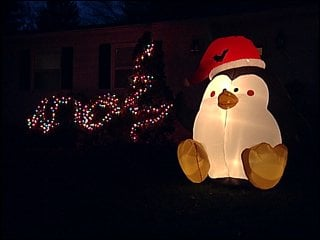 This holiday display is on Whitney Way in Madison Sunday night.