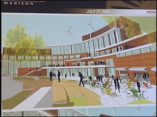 A rendering of what the new south campus Union would look like, including urban wind turbines on the roof.