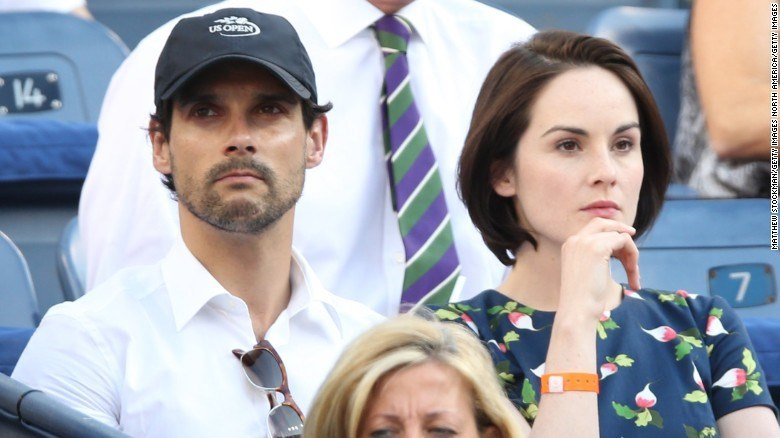John Dineen and Michelle Dockery at the U.S. Open in 2013