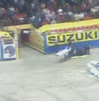 A stretcher is seen on the floor of the Coliseum with paramedics surrounding the struck employee. (Courtesy: Steve Smith)