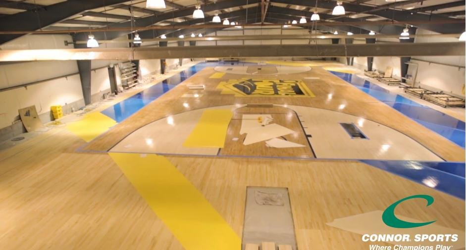 Watch the making of the final four basketball court wvva for Making a basketball court