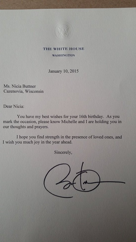 UPDATE Card shower for Cazenovia teen receives presidential nod – Birthday Card from the President