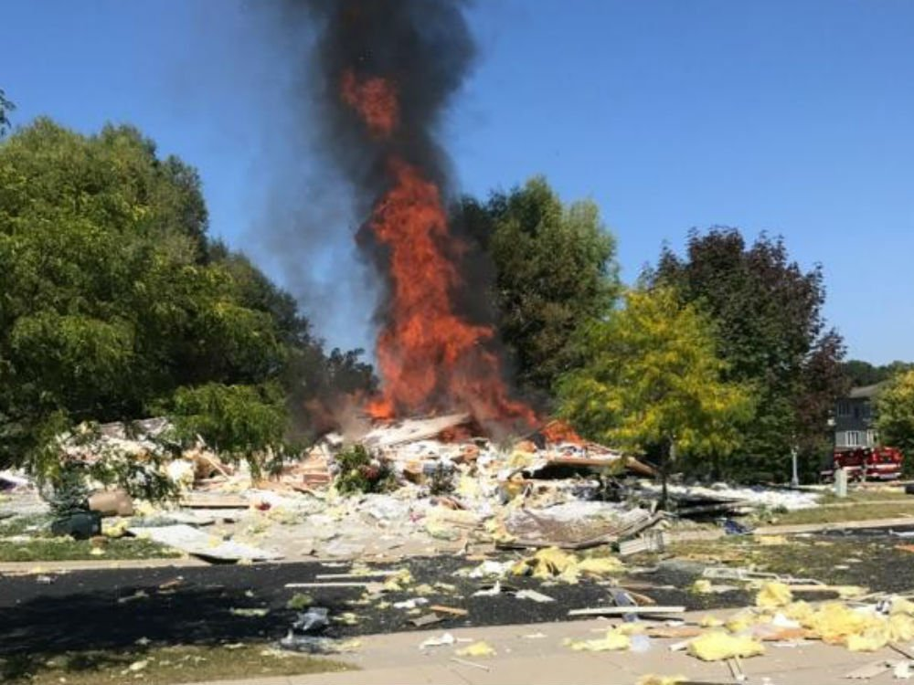 Home explosion Sept. 13, 2017 in Madison. Photo by John Castro.
