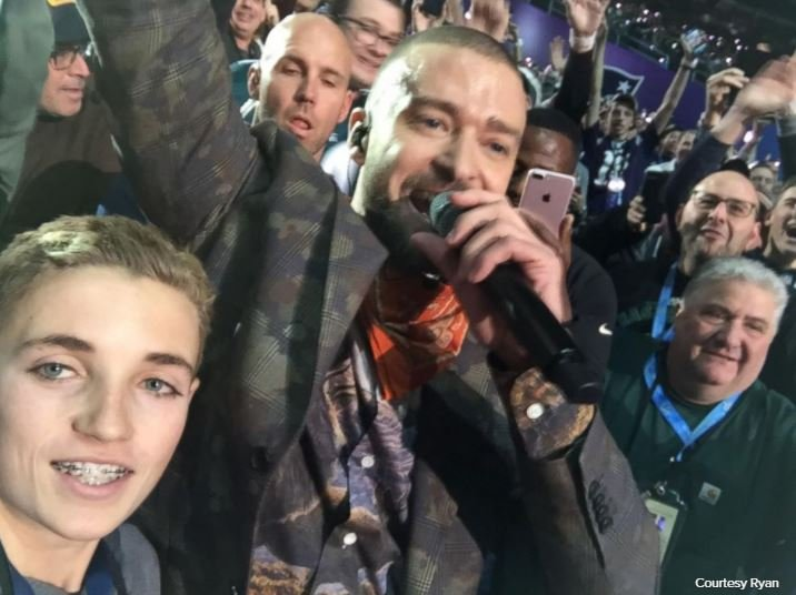 Ryan, 13, snapped a selfie with Justin Timberlake during the halftime show at the Super Bowl LII on Feb. 4, 2018.