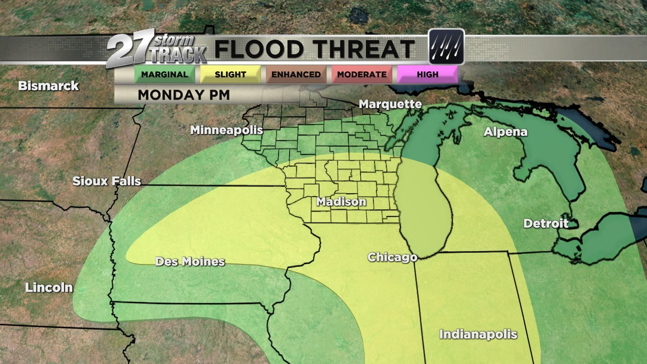 Flood threat via Weather Prediction Center