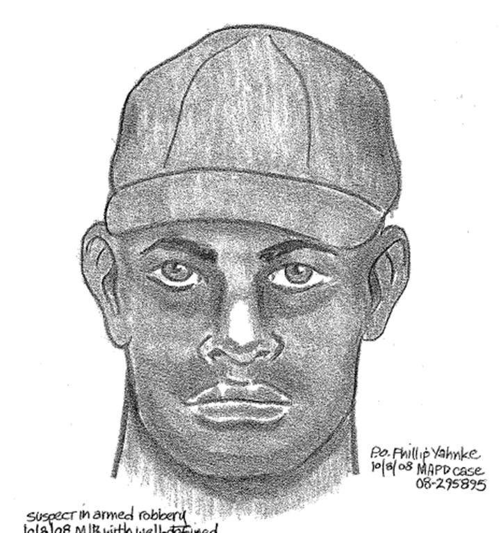 Police sketch of bike path robbery suspect